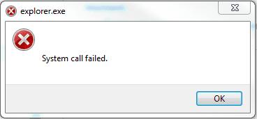 Explorer.exe system call failed error