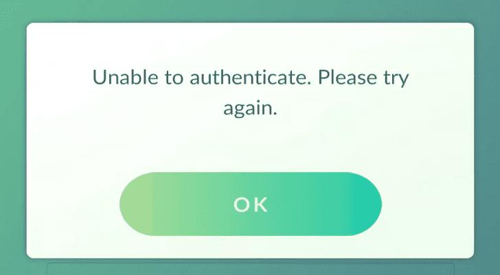 pokemon go unable to authenticate error