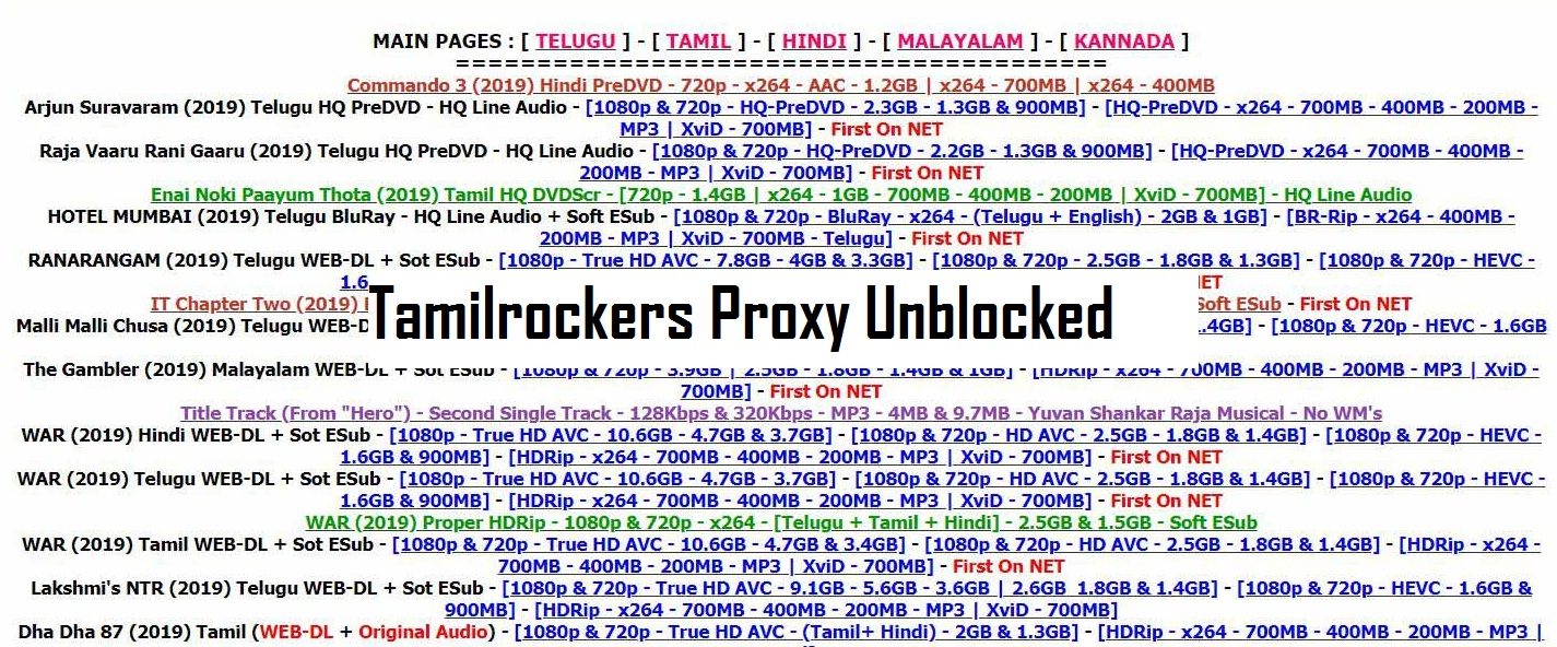 Tamilrockers Proxy Websites and how to unblock